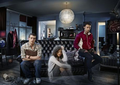 The cast of Being Human. L-R, George Sands (Tovey), Annie Sawyer (Crichlow) and John Mitchell (Turner)