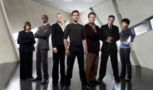 From L-R: Blair Brown, Lance Reddick, Anna Torv, Joshua Jackson, John Noble, Kirk Acevedo, and Jasika Nicole.